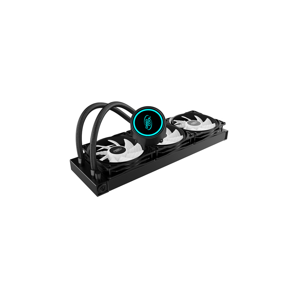 A large main feature product image of Deepcool GAMMAXX L360 V2 RGB AIO Liquid CPU Cooler