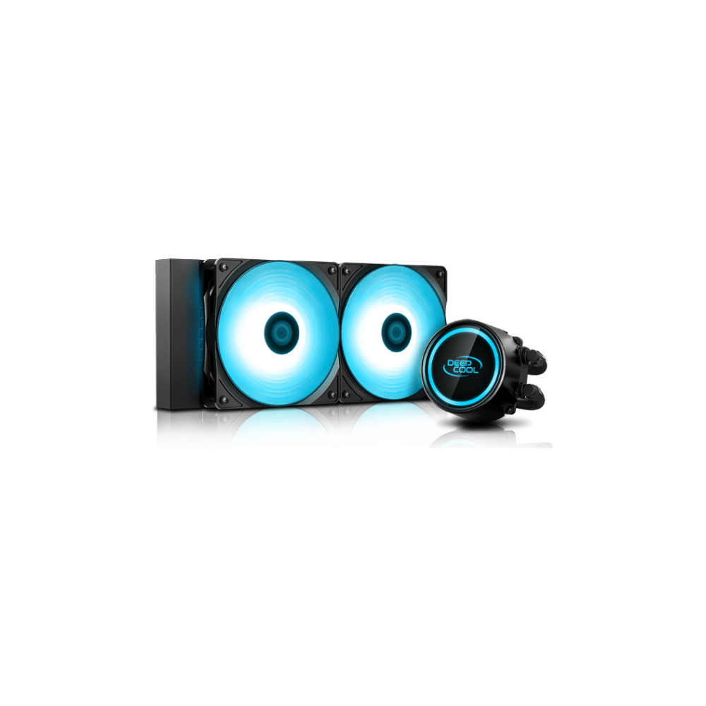 A large main feature product image of Deepcool GAMMAXX L240 V2 RGB AIO Liquid CPU Cooler