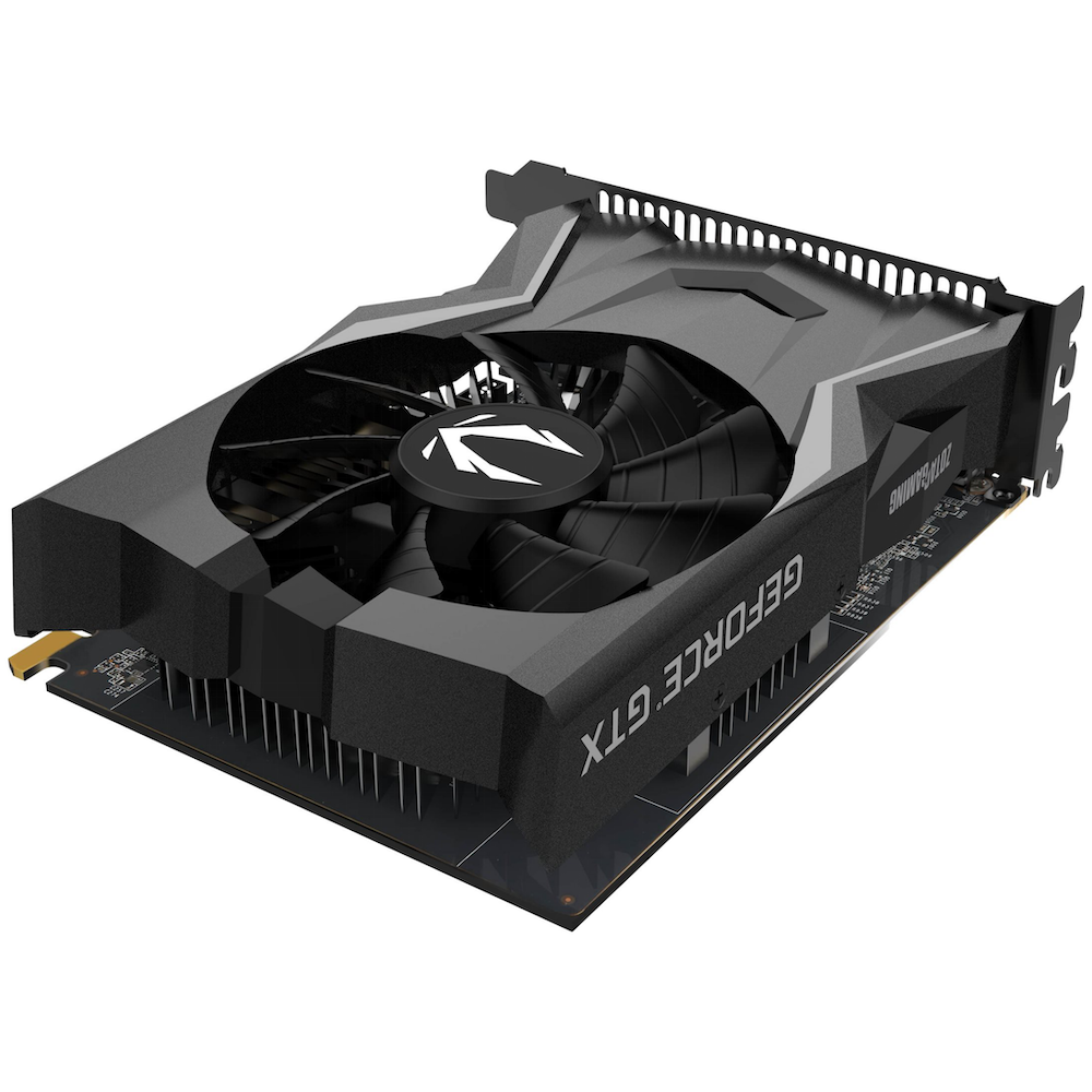 A large main feature product image of ZOTAC GAMING GeForce GTX 1650 OC 4GB GDDR6
