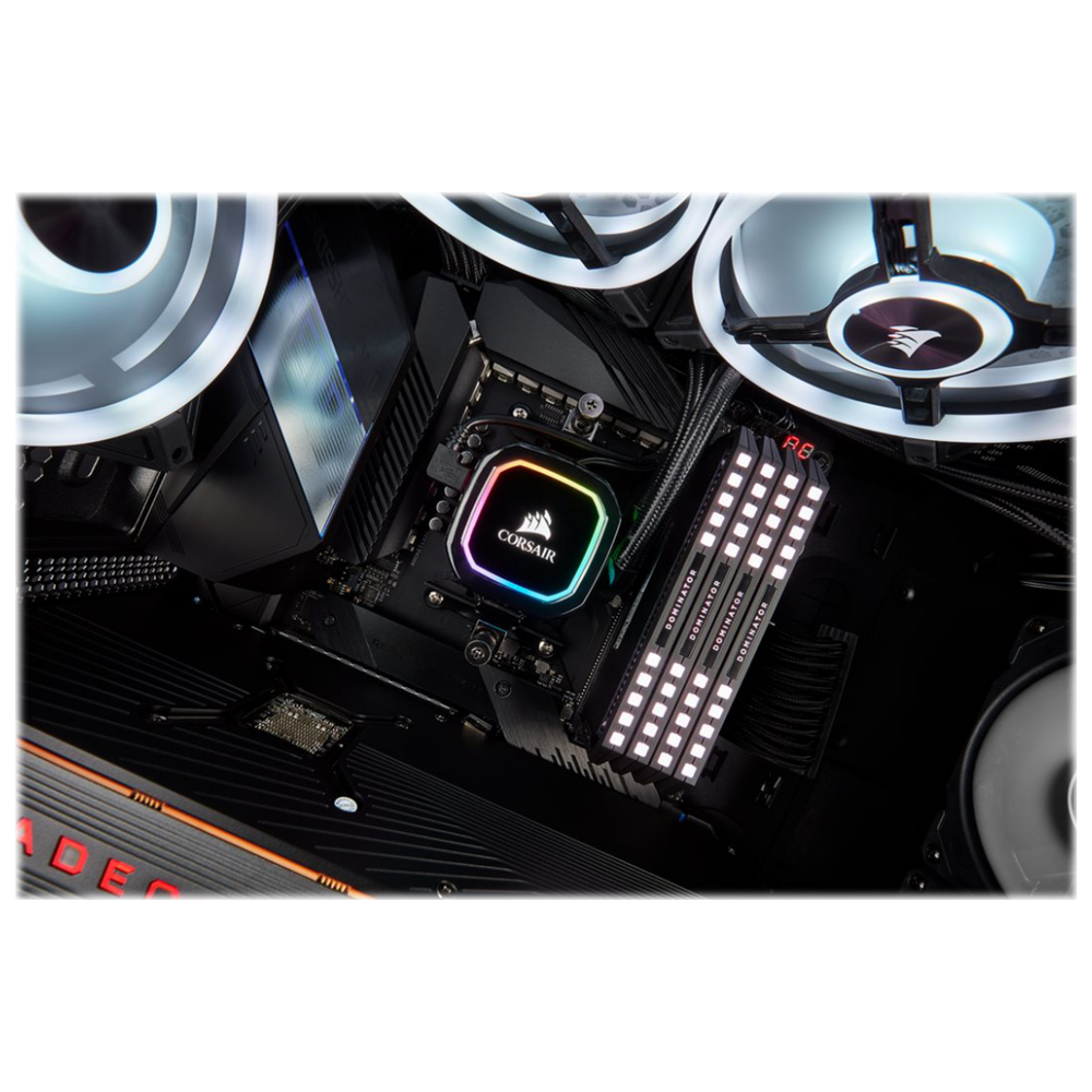 A large main feature product image of Corsair iCue H115i RGB Pro XT AIO Liquid CPU Cooler