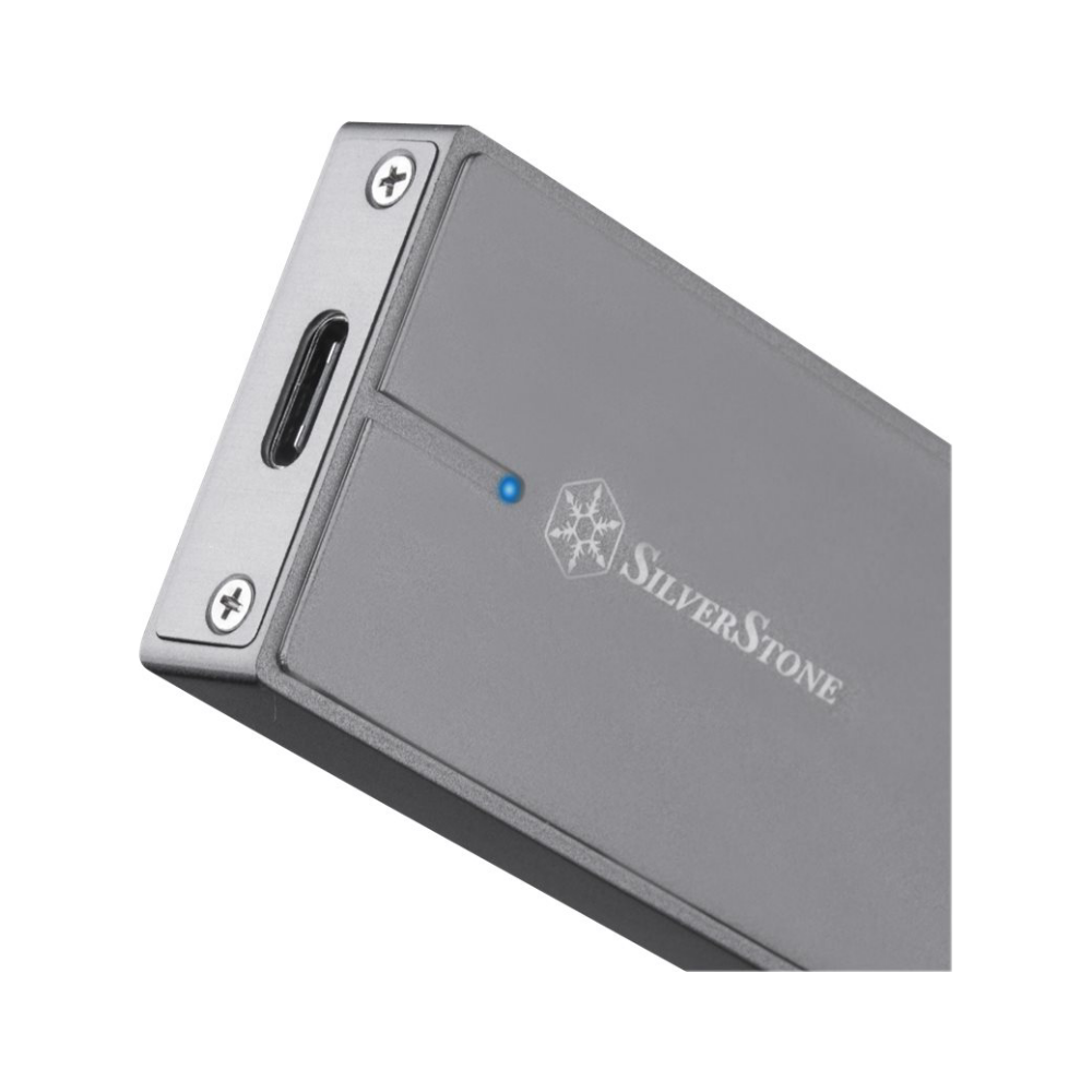 A large main feature product image of SilverStone M.2 NVMe External Hard Drive Enclosure - Charcoal