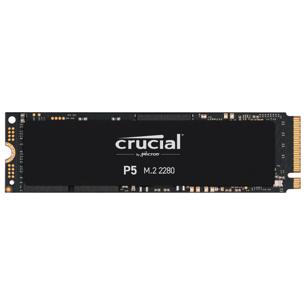 A large main feature product image of Crucial P5 500GB 3D NAND NVMe M.2 SSD