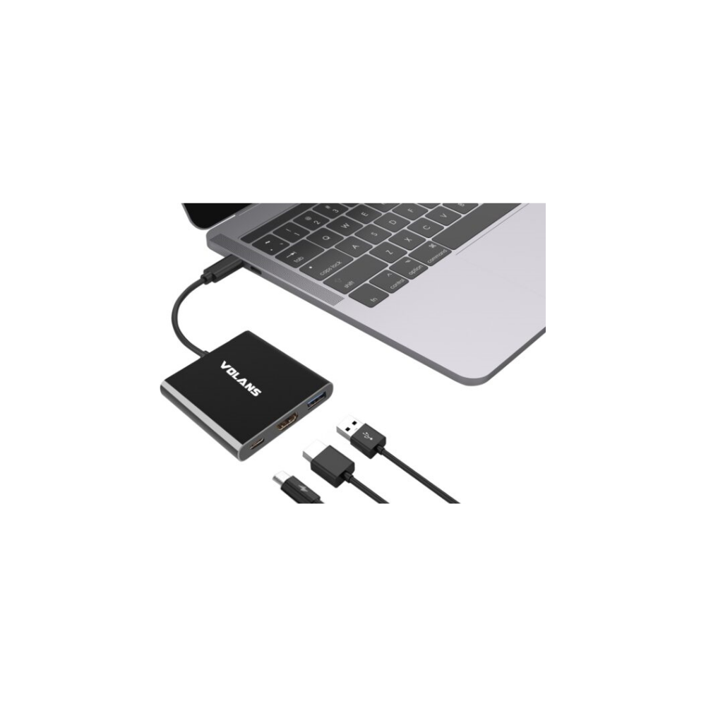 A large main feature product image of Volans Aluminium USB-C Multiport Adapter