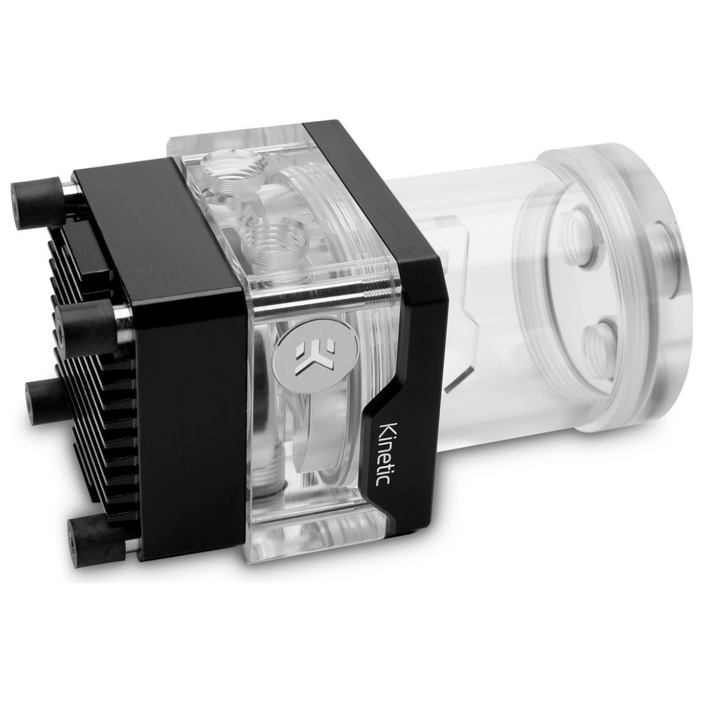 A large main feature product image of EK Quantum Kinetic TBE D-RGB PWM 120 Reservoir - Plexi