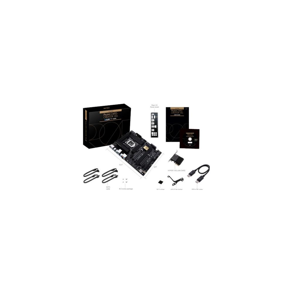 A large main feature product image of ASUS ProArt Z490 Creator 10G LGA1200 ATX Desktop Motherboard