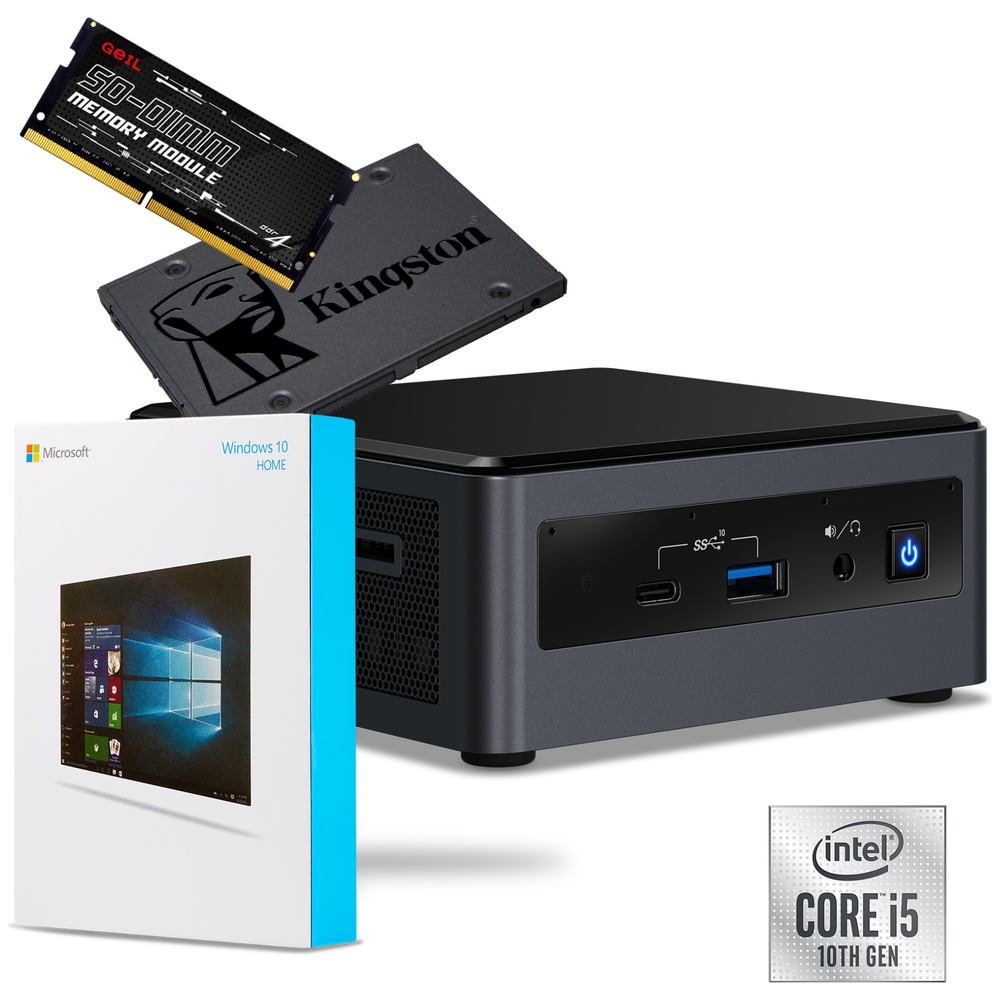 A large main feature product image of Intel 10th Gen i5 NUC DIY Starter Bundle