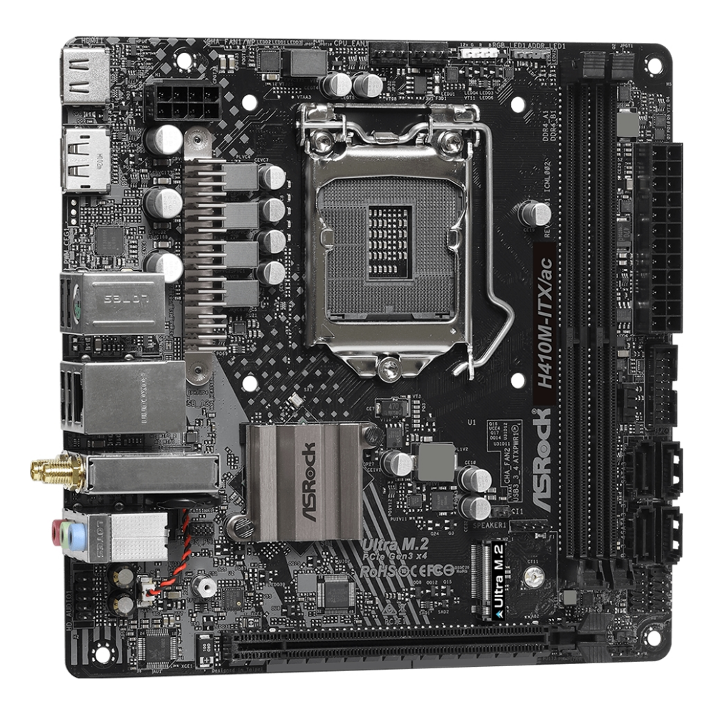 A large main feature product image of ASRock H410M-ITX/ac LGA1200 mITX Desktop Motherboard