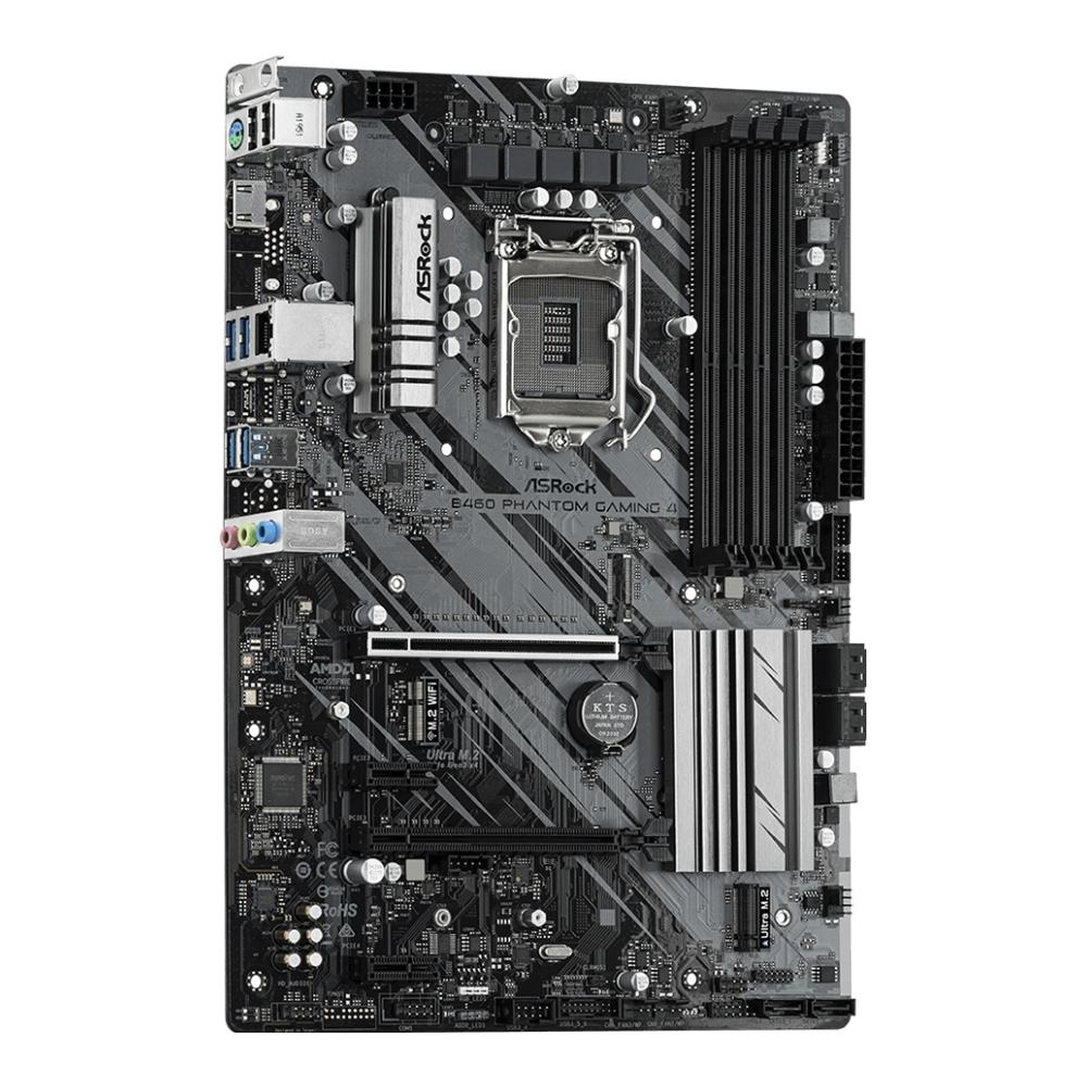 A large main feature product image of ASRock B460 Phantom Gaming 4 LGA1200 ATX Desktop Motherboard