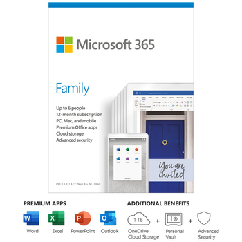 Product image of Microsoft 365 Family Retail Pack - 6 User, 1 Year Subscription - Click for product page of Microsoft 365 Family Retail Pack - 6 User, 1 Year Subscription