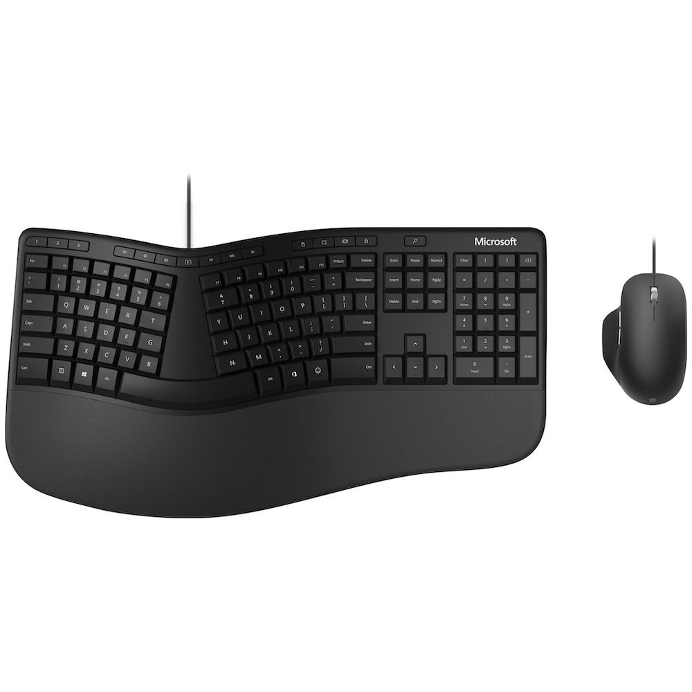 A large main feature product image of Microsoft Ergonomic Wired Desktop Keyboard & Mouse Kit