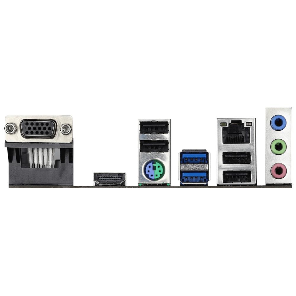 A large main feature product image of ASRock H410M-HVS LGA1200 mATX Desktop Motherboard