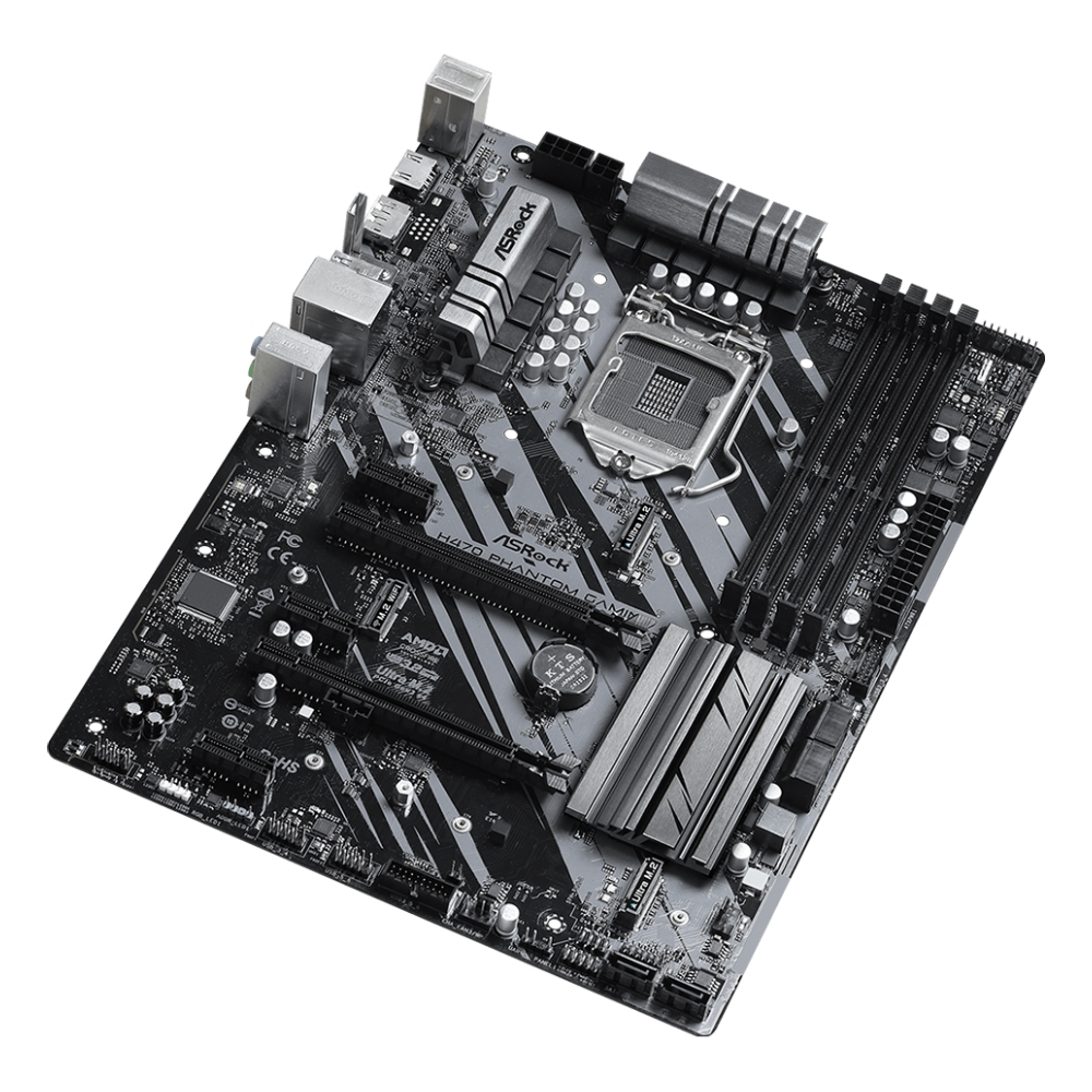 A large main feature product image of ASRock H470 Phantom Gaming 4 LGA1200 ATX Desktop Motherboard