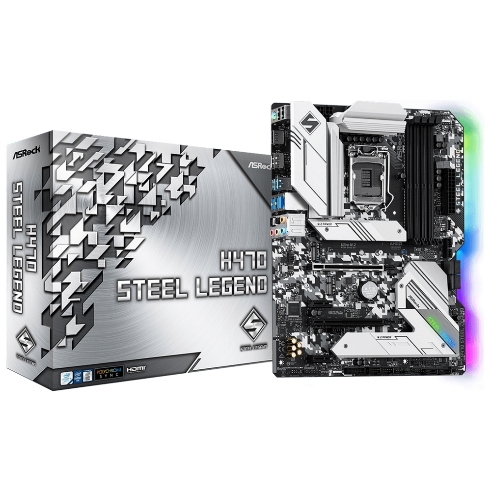 A large main feature product image of ASRock H470 Steel Legend LGA1200 ATX Desktop Motherboard