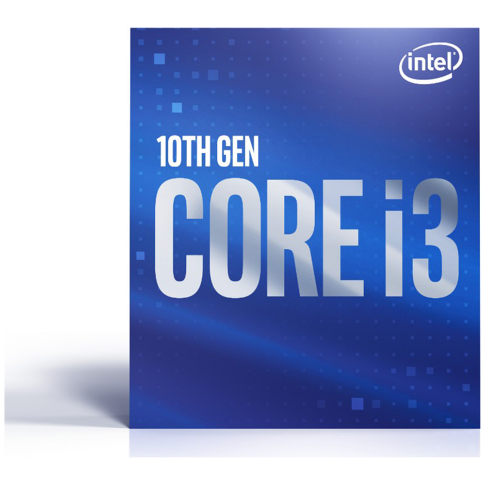 A large main feature product image of Intel Core i3 10100 Comet Lake 4 Core 8 Thread Up To 4.3Ghz LGA1200 - Retail Box