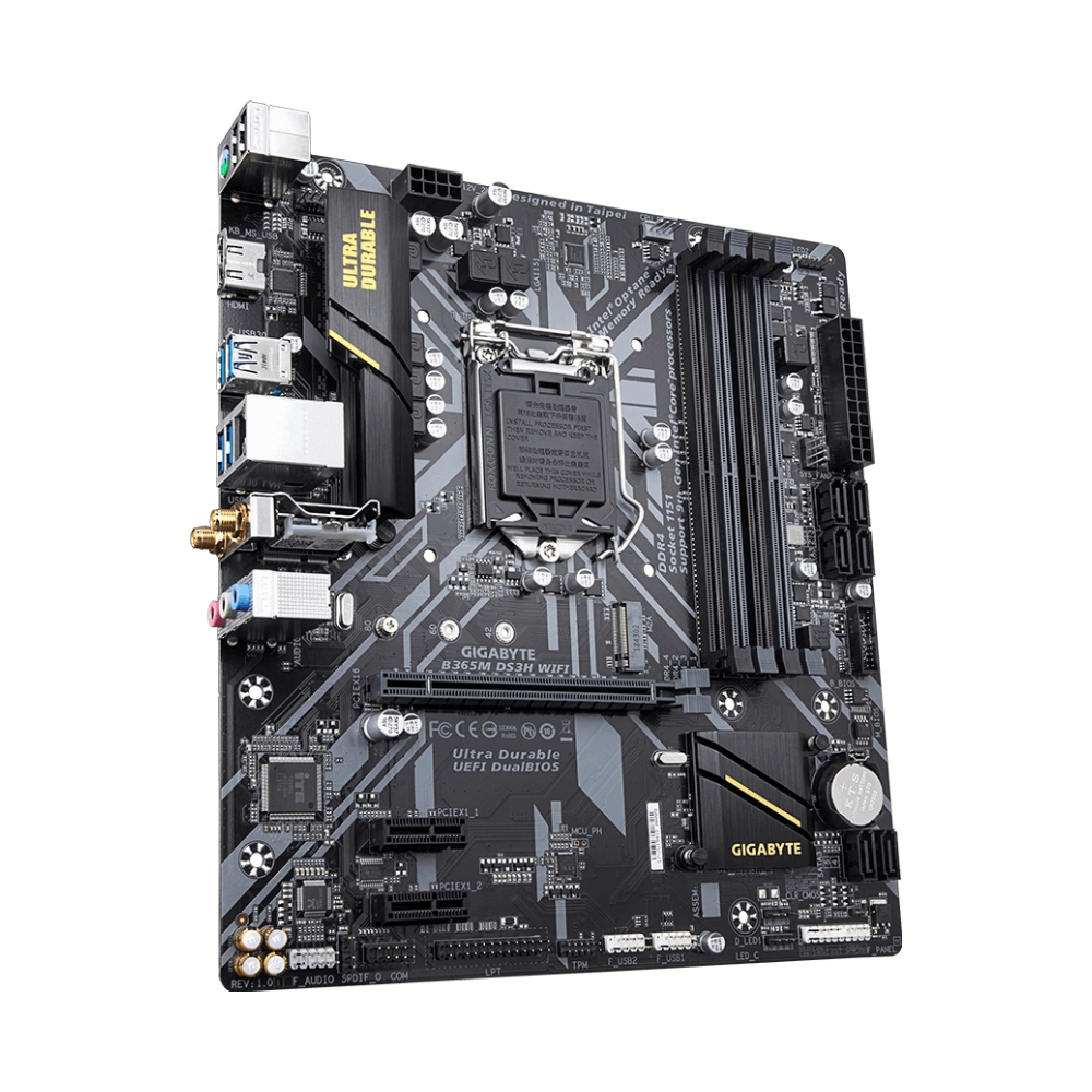 A large main feature product image of Gigabyte B365M DS3H WiFi LGA1151-CL mATX Desktop Motherboard