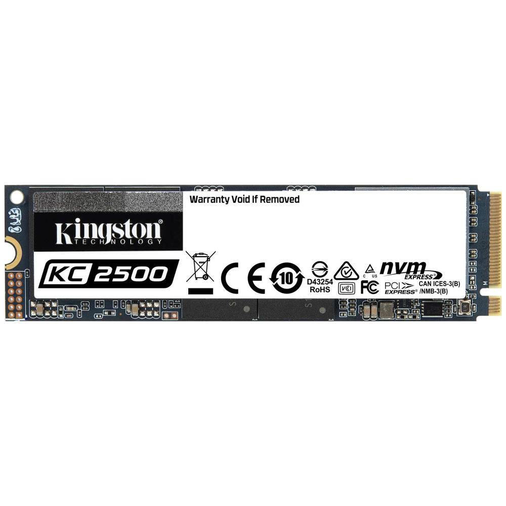A large main feature product image of Kingston KC2500 250GB NVMe M.2 SSD