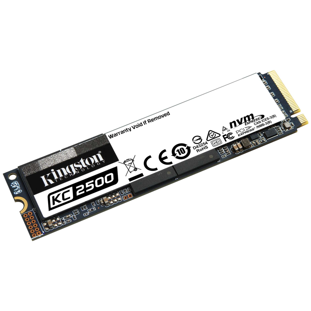 A large main feature product image of Kingston KC2500 500GB NVMe M.2 SSD