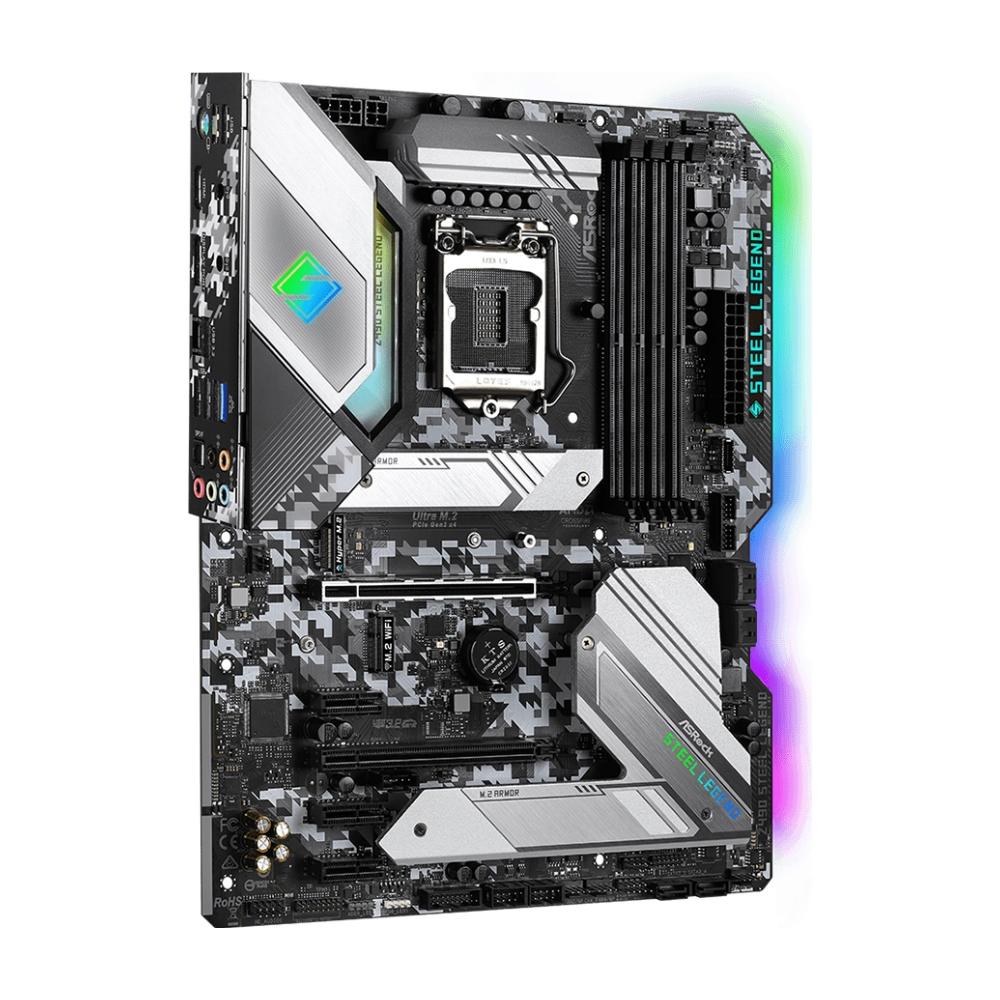 A large main feature product image of ASRock Z490 Steel Legend LGA1200 ATX Desktop Motherboard