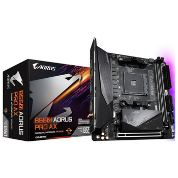 Product image of Gigabyte B550I Aorus Pro AX AM4 mITX Desktop Motherboard - Click for product page of Gigabyte B550I Aorus Pro AX AM4 mITX Desktop Motherboard