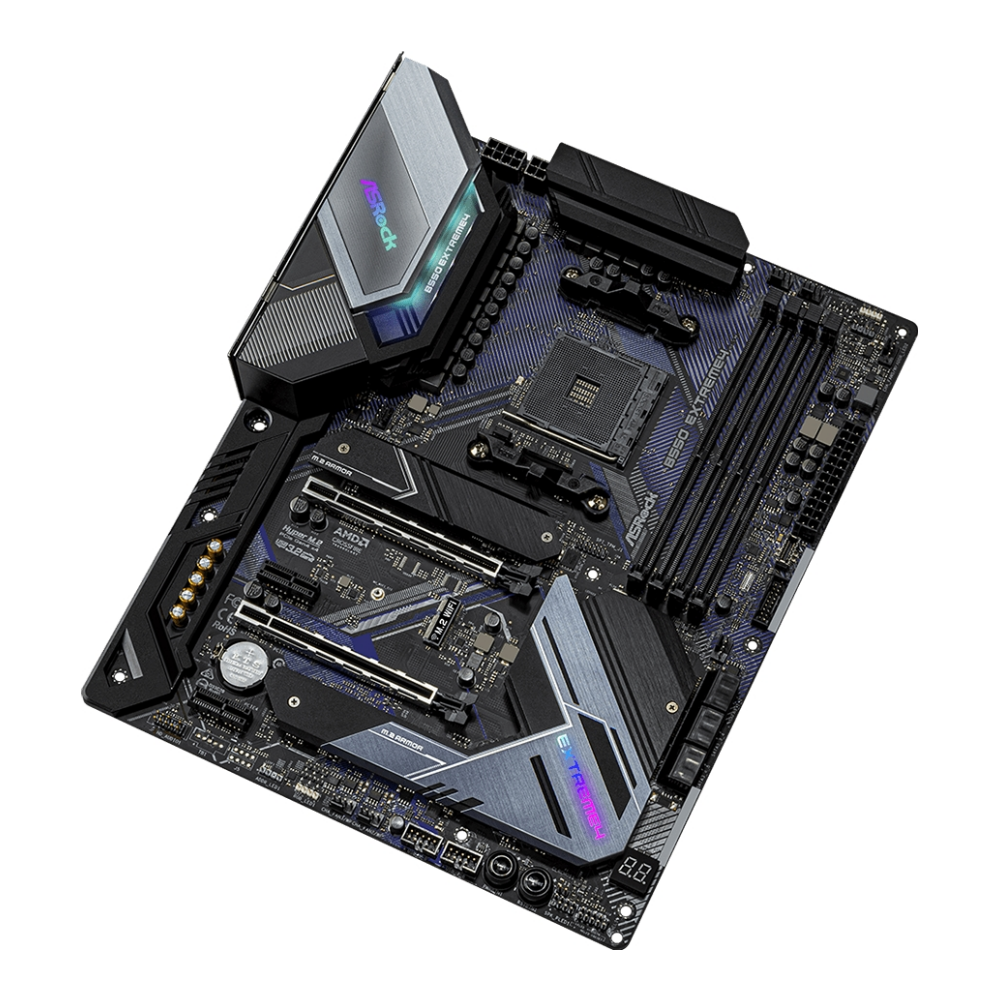 A large main feature product image of ASRock B550 Extreme4 AM4 ATX Desktop Motherboard