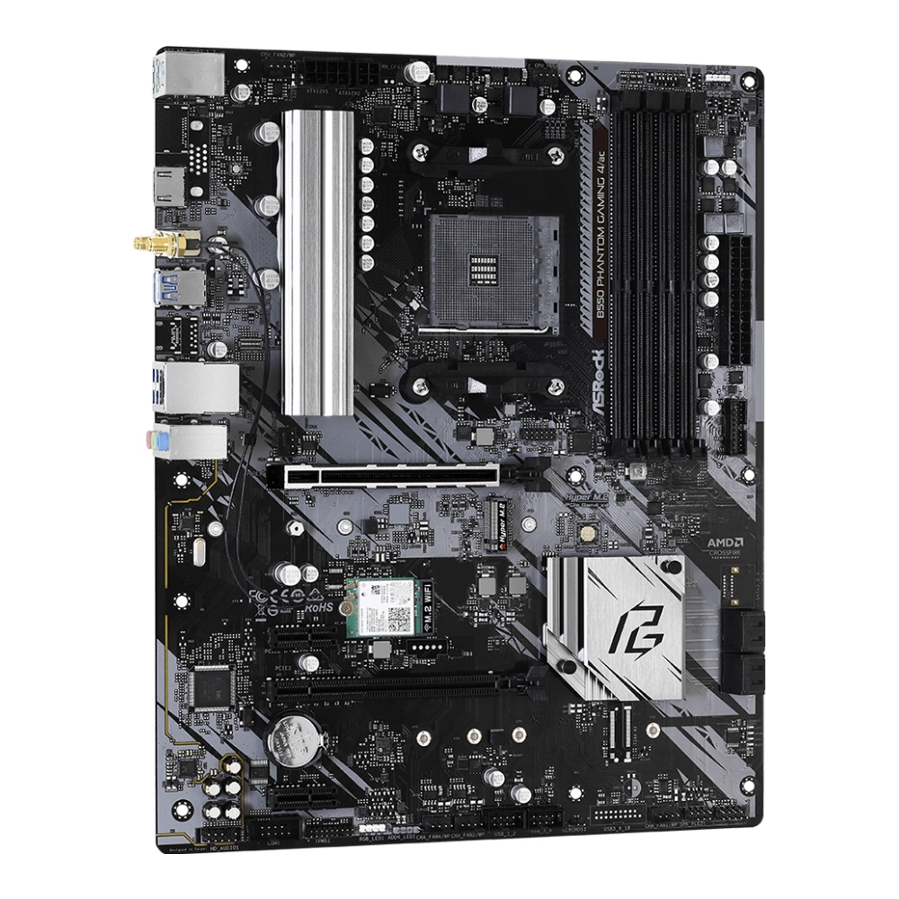 A large main feature product image of ASRock B550 Phantom Gaming 4 AC AM4 ATX Desktop Motherboard