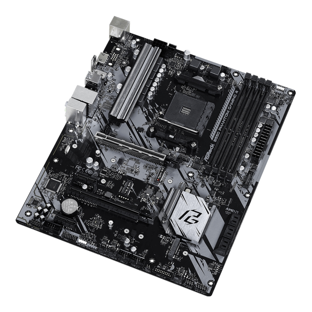 A large main feature product image of ASRock B550 Phantom Gaming 4 AM4 ATX Desktop Motherboard