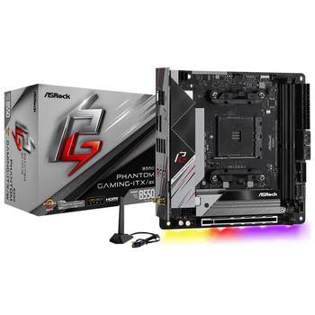 Product image of ASRock B550 Phantom Gaming-ITX AX AM4 mITX Desktop Motherboard - Click for product page of ASRock B550 Phantom Gaming-ITX AX AM4 mITX Desktop Motherboard