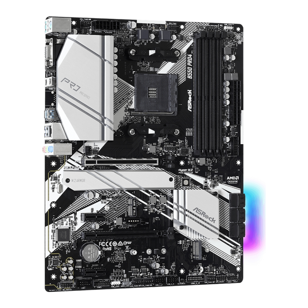 A large main feature product image of ASRock B550 Pro4 AM4 ATX Desktop Motherboard