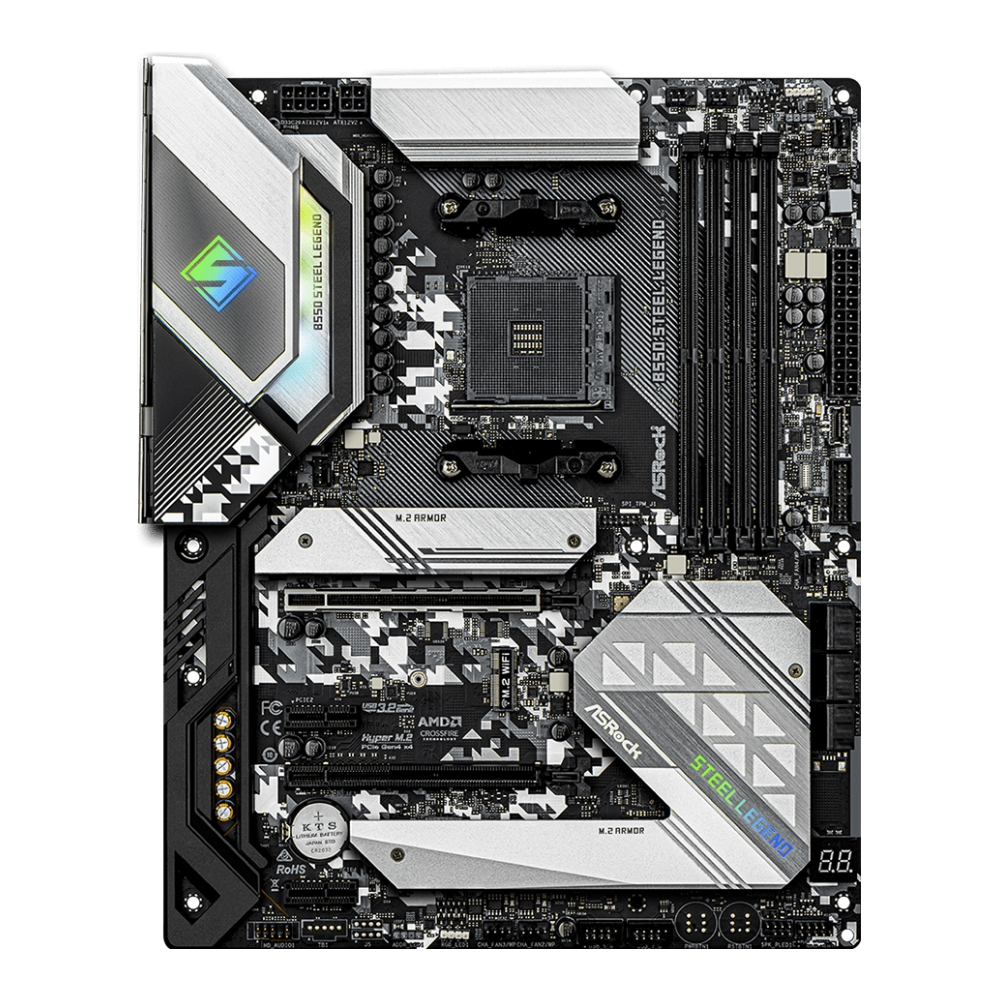 A large main feature product image of ASRock B550 Steel Legend AM4 ATX Desktop Motherboard