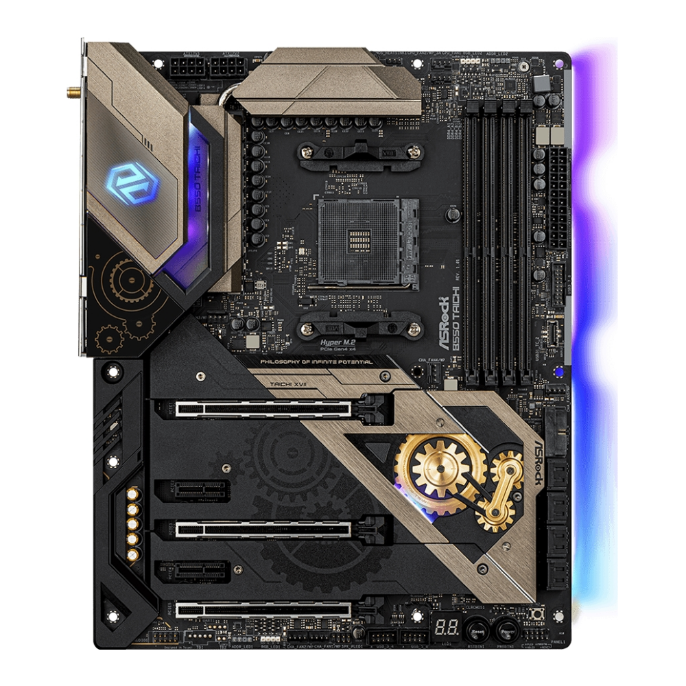 A large main feature product image of ASRock B550 Taichi AM4 ATX Desktop Motherboard
