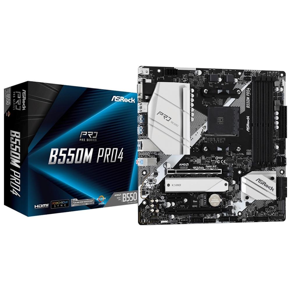A large main feature product image of ASRock B550M Pro4 AM4 mATX Desktop Motherboard