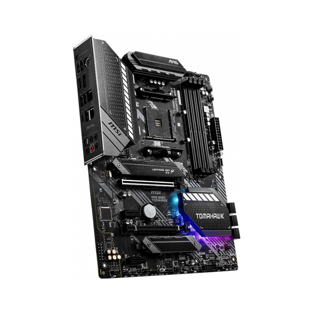 A large main feature product image of MSI MAG B550 Tomahawk AM4 ATX Desktop Motherboard