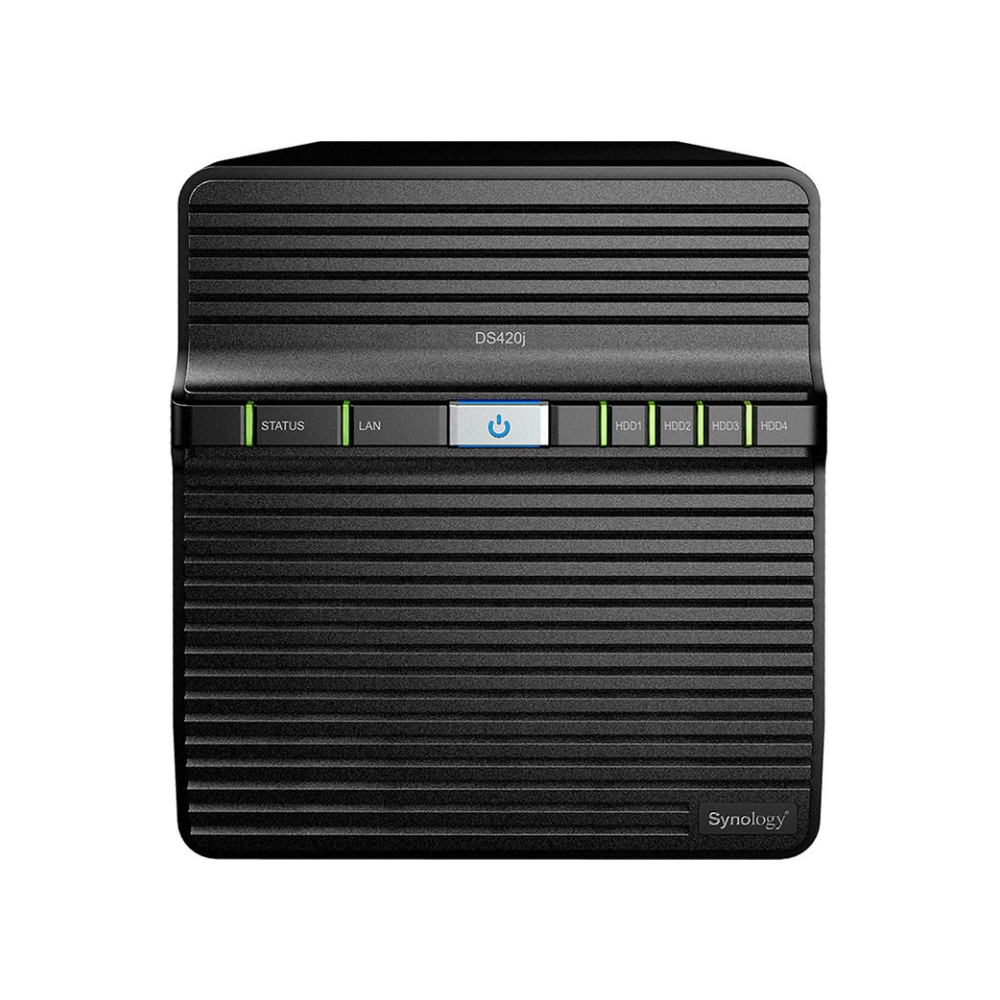A large main feature product image of Synology Diskstation DS420J Quad Core 1.4Ghz 1GB 4 Bay NAS