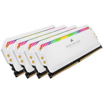 Product image of Corsair 32GB Kit (4x8GB) DDR4 Dominator Platinum RGB C16 3200Mhz - White - Click for product page of Corsair 32GB Kit (4x8GB) DDR4 Dominator Platinum RGB C16 3200Mhz - White