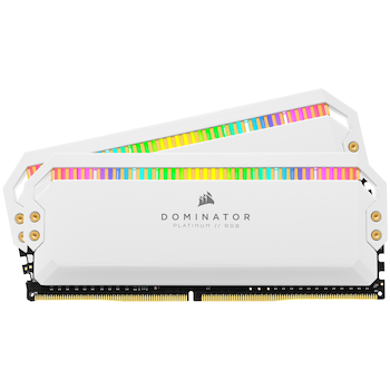 Product image of Corsair 16GB Kit (2x8GB) DDR4 Dominator Platinum RGB C16 3200Mhz - White - Click for product page of Corsair 16GB Kit (2x8GB) DDR4 Dominator Platinum RGB C16 3200Mhz - White
