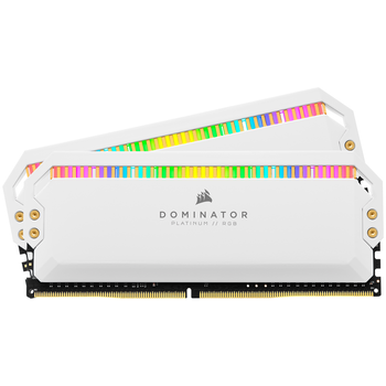 Product image of Corsair 32GB Kit (2x16GB) DDR4 Dominator Platinum RGB C16 3200Mhz - White - Click for product page of Corsair 32GB Kit (2x16GB) DDR4 Dominator Platinum RGB C16 3200Mhz - White