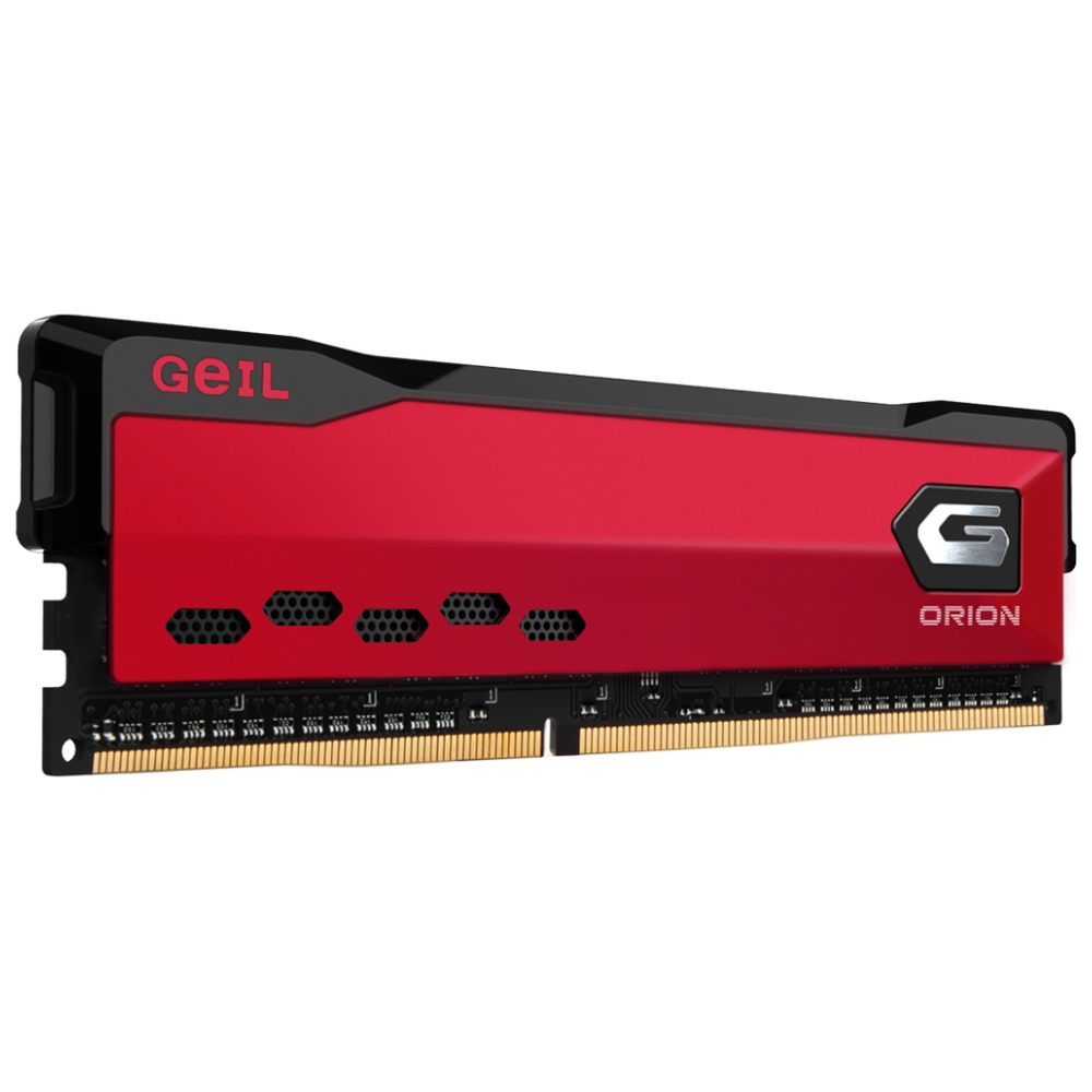 A large main feature product image of GeIL 16GB Kit (2x8GB) DDR4 Orion Rust Red C16 3000Mhz
