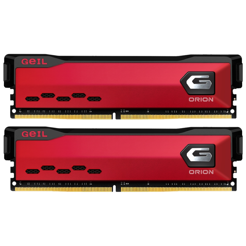 A large main feature product image of GeIL 32GB Kit (2x16GB) DDR4 Orion Rust Red C16 3000Mhz