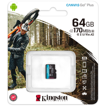 Product image of Kingston Canvas Go! 64GB Class 10 UHS-I Micro SD Card - Click for product page of Kingston Canvas Go! 64GB Class 10 UHS-I Micro SD Card