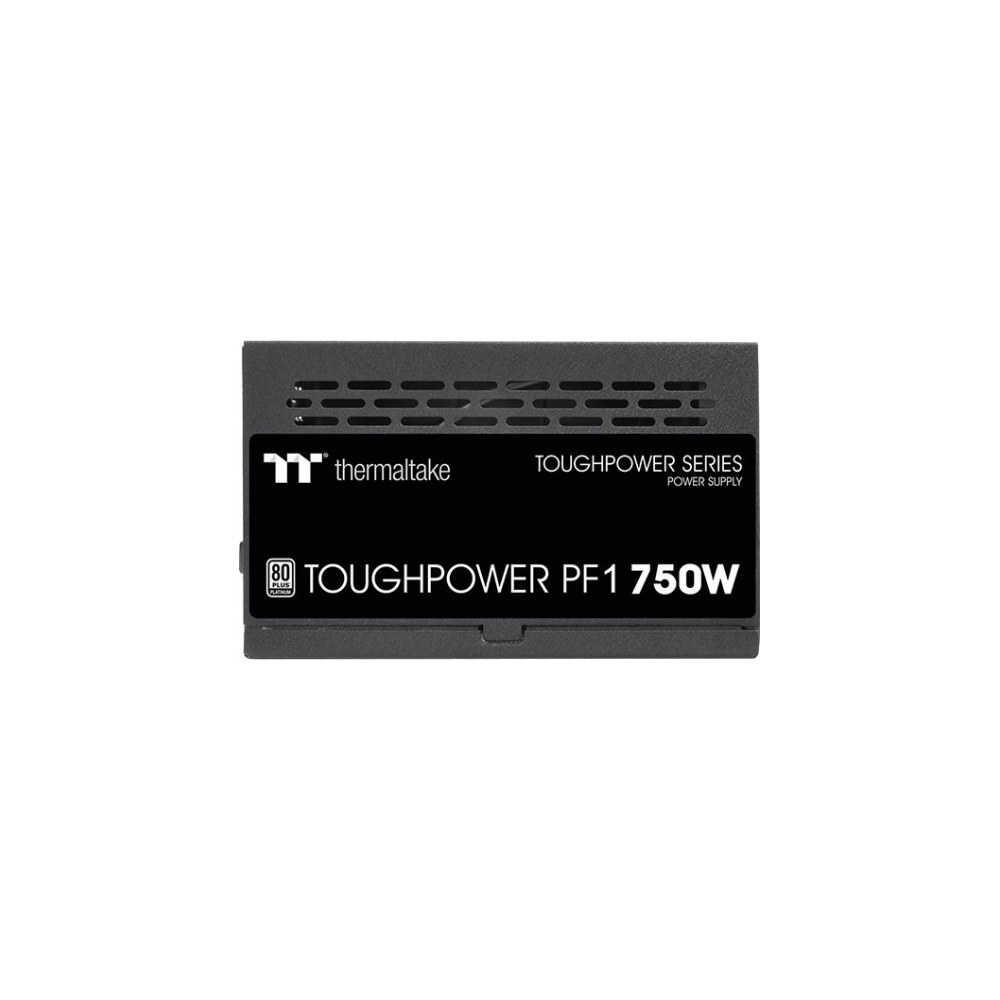 A large main feature product image of Thermaltake Toughpower PF1 750W 80Plus Platinum Fully Modular Power Supply