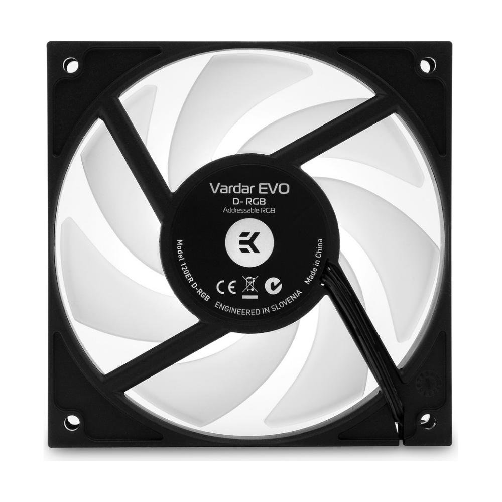A large main feature product image of EK-Vardar EVO D-RGB 120ER 120mm Addressable RGB Fan
