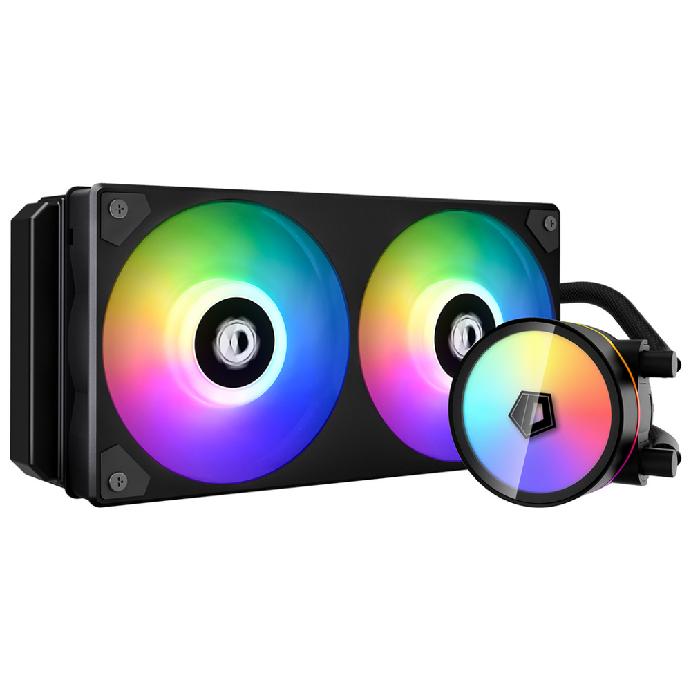 A large main feature product image of ID-COOLING IceFlow 240 Addressable RGB AIO CPU Liquid Cooler