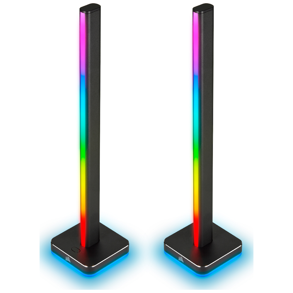 A large main feature product image of Corsair LT100 Smart Lighting Towers - Starter Kit