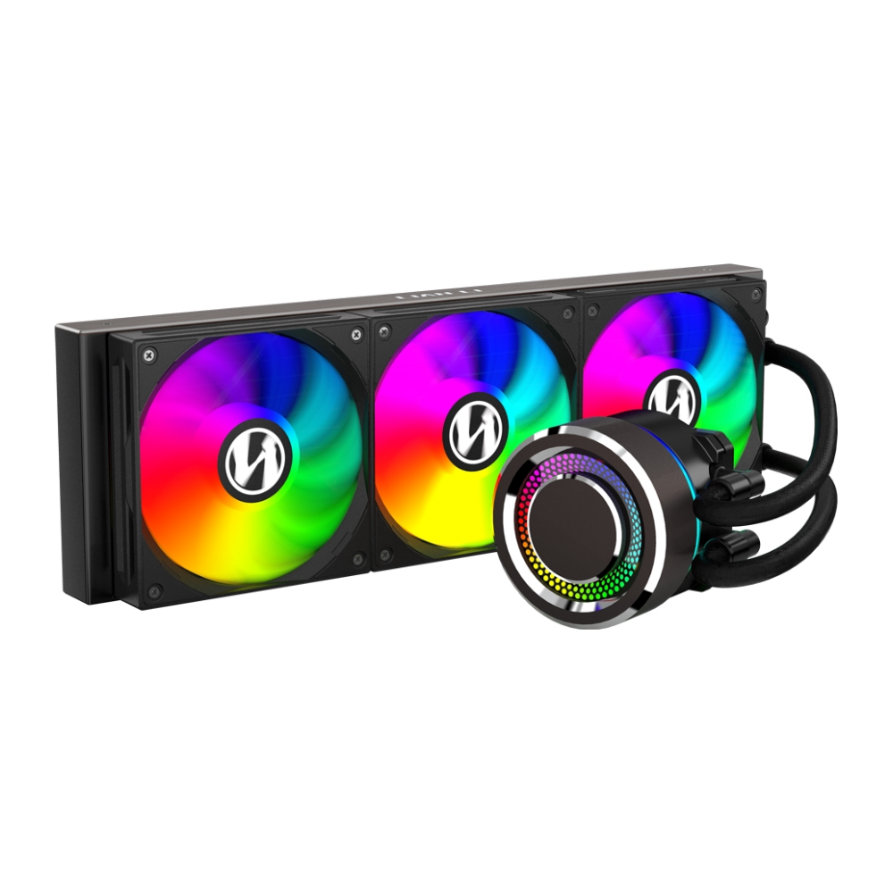 A large main feature product image of Lian-Li Galahad 360mm Black ARGB AIO Liquid CPU Cooler