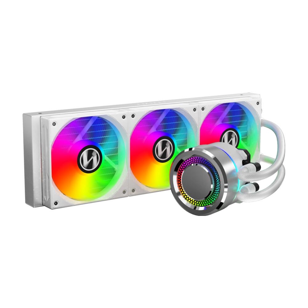 A large main feature product image of Lian-Li Galahad 360mm Silver ARGB AIO Liquid CPU Cooler