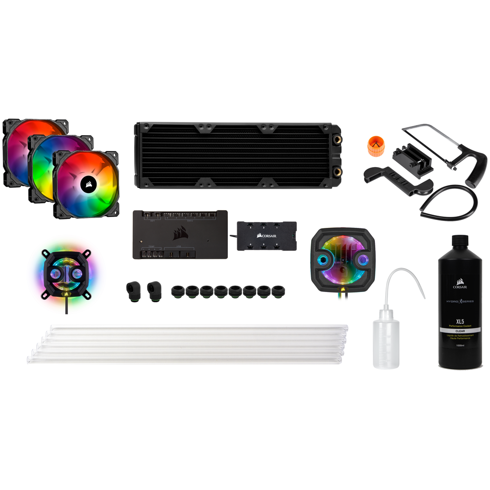A large main feature product image of CORSAIR Hydro X Series iCUE XH303i RGB DIY Water Cooling Kit