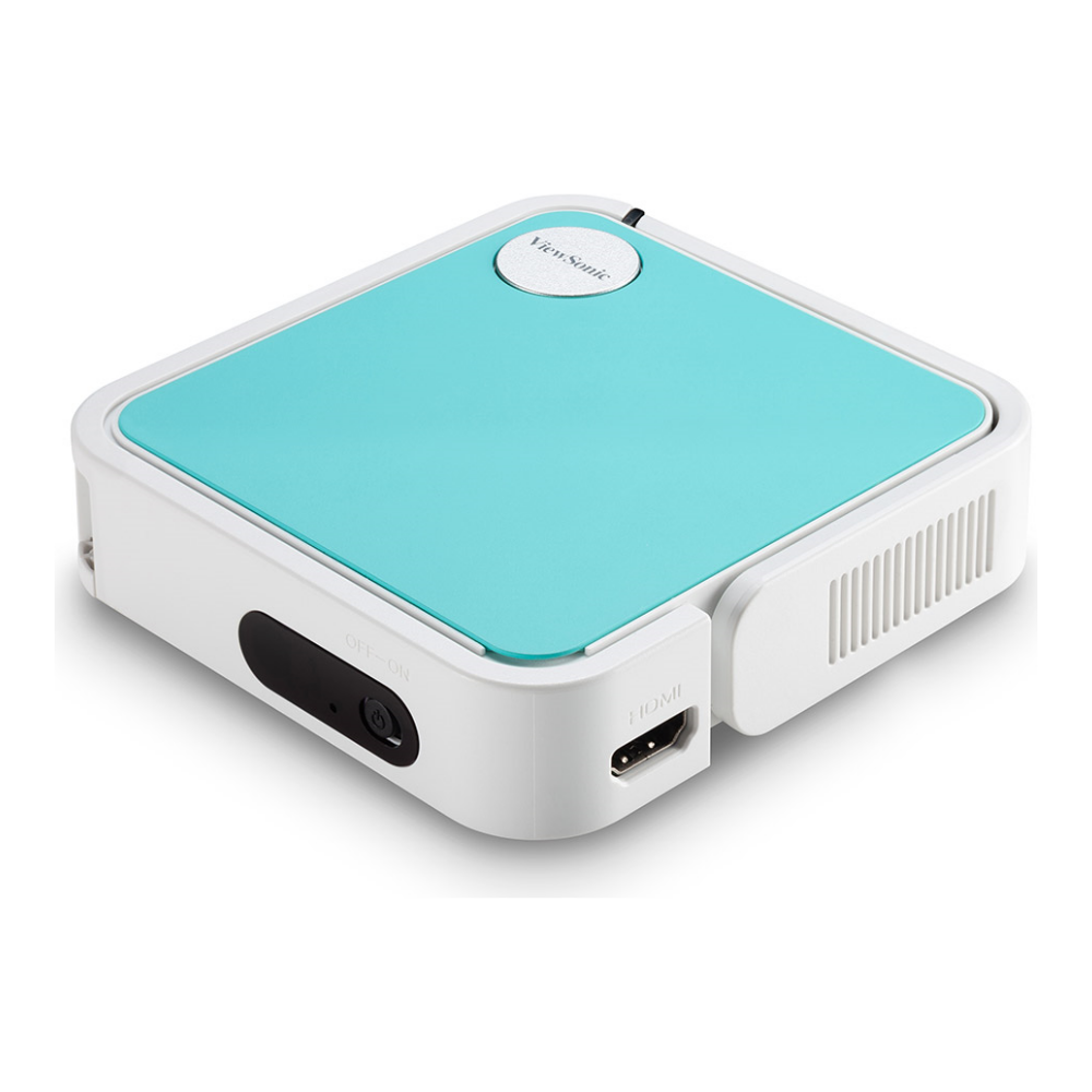 A large main feature product image of Viewsonic M1 Mini LED Pocket Projector