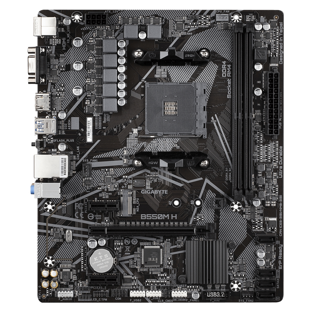 A large main feature product image of Gigabyte B550M H AM4 mATX Desktop Motherboard