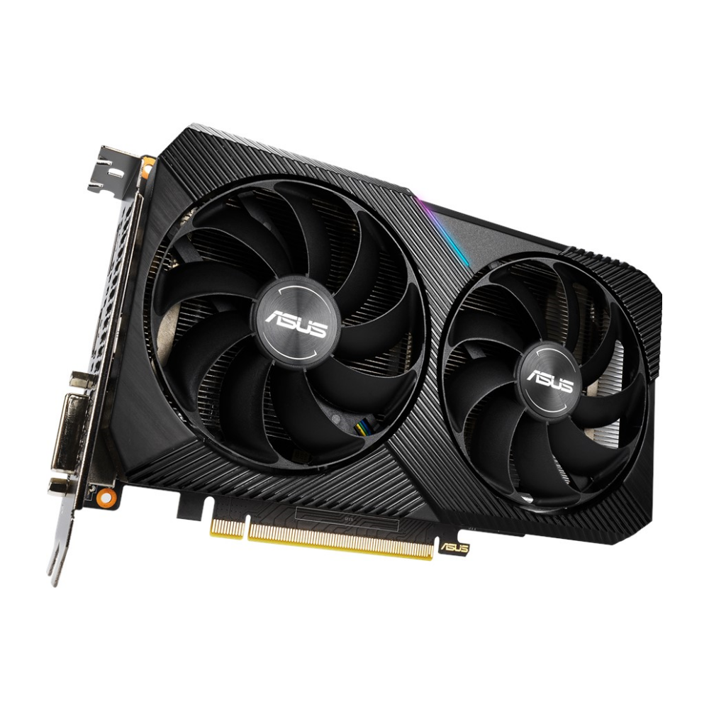 A large main feature product image of ASUS GeForce RTX2070 DUAL MINI OC 8GB GDDR6