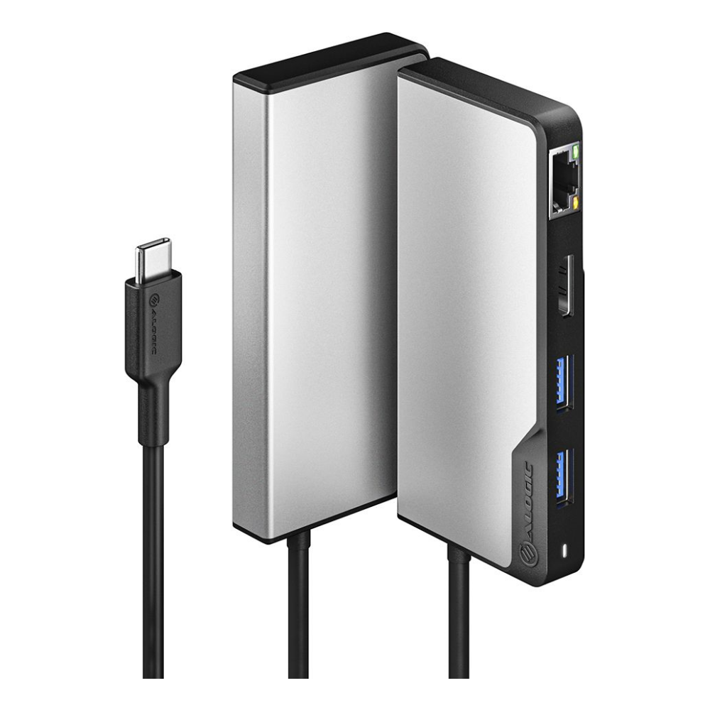 A large main feature product image of ALOGIC USB-C Fusion ALPHA 5-in-1 Hub